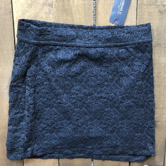 Forever 21 Dresses & Skirts - Lace Mini Skirt (Navy)